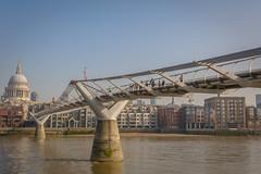 Millenium Bridge (stevefge) Tags: london thames milleniumbridge millenium bridges water rivers reflectyourworld stpauls cathedrals riverbank crossing people candid uk landscape