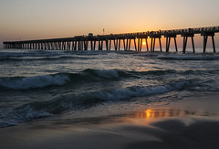 End of the Day (lightonthewater) Tags: ocean gulfofmexico pier panamacitybeach florida beach sunset sun sky waves reflection sand