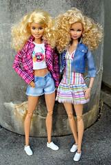 Curly girls (Deejay Bafaroy) Tags: barbie doll dolls puppe puppen mattel fashionistas blonde blond 14 rosa blue blau stripes streifen striped gestreift denim basics jeans collection portrait porträt mtm powderpink pink steffiefacesculpt madetomove steffieface