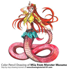 Miia from Monster Musume with Color Pencils [Time Lapse] (drawingtutorials101.com) Tags: miia lamia monster musume everyday life with girls japanese manga sketch sketches sketching pencil draw drawing drawings color coloring how timelapse video