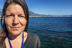 In the sunshine (Melissa Maples) Tags: alanya turkey türkiye asia 土耳其 apple iphone iphone6 cameraphone spring mediterranean sea water me melissa maples selfportrait woman brunette blue