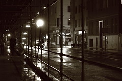 Wet asphalt (No_Mosquito) Tags: vienna austria city centre night lights rain canon powershot g7x mark ii urban wet asphalt street scaffolding monochrome dark