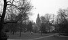 Small park, small church, small village (Rosenthal Photography) Tags: kirche asa400 20170204 ff135 stadtpark kloster städte 35mm ilfordhp5 zeven olympus35rd analog bw dörfer siedlungen church landscape nature trees village olympus ilford epson v800