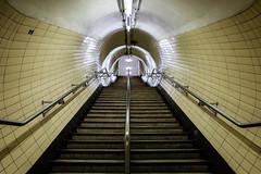 Derangement (Douguerreotype) Tags: london steps tunnel uk symmetry underground urban british stairs city architecture britain subway gb metro tube england