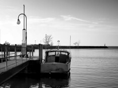 Standing By (HJharland5) Tags: monochrome boat lake harbor docked break wall lakeerie park dock ohio cleveland collinwood wildwood metropark clemetropark