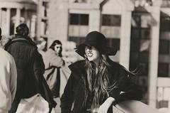 Woman on the bridge (adam_moralee) Tags: waiting bridge black white blackwhite bw wb portrait woman lady hat long hair smile posing london siteseeing focus nikond7000 nikon d7000 18200mm tamron lens adammoralee adam moralee