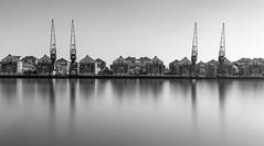 Royal Victoria (scarlet-pimp) Tags: dock longexposure london silverefexpro2 sky water docks mono monochrome royalvictoria blackandwhite architecture royalvictoriadock