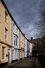 Prince Street (kendo1938) Tags: kingstonuponhull eastyorkshire england gb street road cobbles cobbledroad buildings terracedhouses colours colors sky clouds