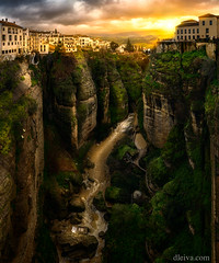 Ronda, view from Puente Nuevo (dleiva) Tags: landscape dleiva dusk photography river field horizontal puente nuevo outdoors valley color image no people majestic scenics high angle view rock formation geology domingo leiva object rio guadalevin gorge
