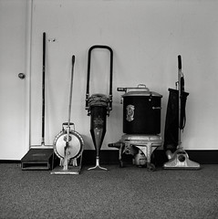 At the Vacuum Cleaner Museum, Portland (austin granger) Tags: vacuumcleaner museum portland oregon collection design type gathering crew droll lineup time square film gf670 starks individuals character