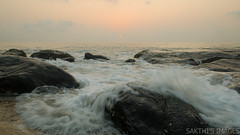 The Sun also rises (sakthi vinodhini) Tags: sea morning serene silky rocky rocks early kovalam chennai india tamilnadu tamil nadu ocean cwc cwc585 force mighty