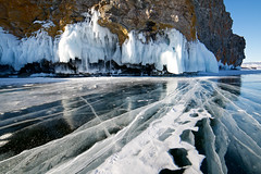 Baikal Magic (setoboonhong ( On and Off )) Tags: travel lake baikal southern siberia russia okhlon island rocky bank frozen ice white icicles lichen rocks transparent lines patterns snow winter landscape attractions