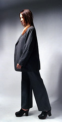 Tiffani Suit 3 (neohypofilms) Tags: series concept suit man men girl female model blazer sport coat slacks pants big tall long legs heels platforms mules clogs peeptoe sexy retro vintage style fashion wild photography studio lighting art 35mm film slr nikon f kodak 200 wooden 60s 70s classic
