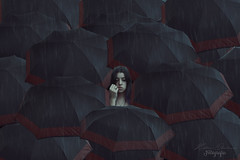 "Desigual // Unequal - TEMA: DIFERENTE ""43/52"" (Kathy Chareun) Tags: surreal surrealism surrealismo surrealista surrealistic unreal irreal ps photoshop autoretrato autorretrato selfportrait umbrella paraguas women mujer femme girl flle rain lluvia different diferente desigual unequal water agua challenge reto"