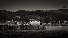 Wharf at Half Moon Bay Harbor B&W (Charlie Day DaytimeStudios) Tags: beach building california halfmoonbayca harbor highway1 landscape ocean pacificcoast pacificcoasthighway pier sanmateocoast surf w water wharf