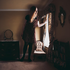 Outgrowing Homes (laurawilliams▲) Tags: surreal surrealism bedroom window house home fine art girl giant
