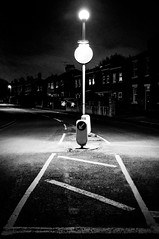 2017_113 (Chilanga Cement) Tags: fuji fujix100t fujix100f x100t x100f bw blackandwhite night road pavement sign lancashire circle light overhead line lines shadow shadows post lamp cloud clouds