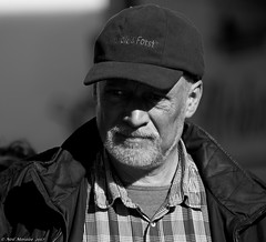 Forest and  forest (Neil. Moralee) Tags: neilmoralee nikon d7100 austria man face portrait candid street beard moustache mature old black white mono bw bandw blackandwhite look hat cap wald forst german shirt shadow shade peak neil moralee