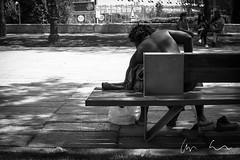 Triangles (AaronEden) Tags: ifttt 500px park daytime sidewalk bench black white man spain madrid outdoors daylight fitness