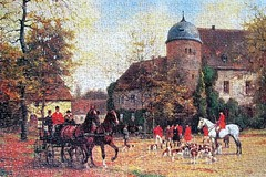 The Meet (pefkosmad) Tags: jigsaw puzzle hobby pastime recreation leisure arrowpuzzles 1000pieces complete used secondhand themeet painting art hunting foxhunting georgekarlkoch horses hounds huntingpink carriage foxhounds