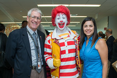 Phil Pierpont, Ronald McDonald and Grace Avila at the five year celebration of the Ronald McDonald Care Mobile™ (UTHealth) Tags: ronald mcdonald care mobile uthealth school dentistry houston texas children health dental