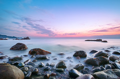 Dusk at Odoi Rock Beach (-TommyTsutsui- [nextBlessing]) Tags: longexposure blue light sunset sea orange seascape beach nature rock japan clouds landscape spring nikon purple dusk magic tide scenic shore     izu toi    sigma1020