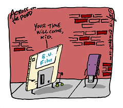 """""""obsolescence"""" - an Across the Pond comic by eric Hews  2013 (eric Hews) Tags: old copyright illustration fun drive virginia march store ancient funny eric artist comic technology tech time drawing flash small humor cartoon emo guard creative progress funnies philosophy save richmond storage read disk strip tiny memory usb thumb writer comicstrip illustrator haha write toon mass disc trump behavior artifact society useless magnetic obsolete 2012 psychology koch diskette obsolescence jumpdrive hews erichewscom erichews acrossthepond 2013erichews ennuizle"""