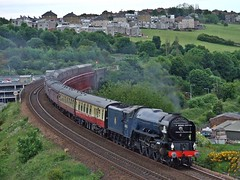 Climbing To The Forth Bridge. (Kingfisher 24) Tags: train scotland fife railway viaduct a1 tornado jamestown srps 60163
