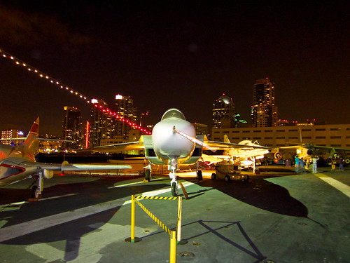 RA-5 Vigilante with San Diego skyline