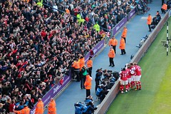 Arsenal Players and Fans Celebrate (jamesgamlin1) Tags: west football away end premier arsenal league albion gunners hawthorns bromwich