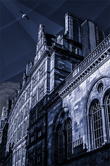 From The Sky II (Anthony Pallotto Photography) Tags: city uk windows portrait sky urban bird clouds photoshop buildings outdoors scotland town flying photo nikon downtown shadows unitedkingdom glasgow seagull illustrated picture dslr gojira toning splittone fromthesky d7000