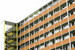 Altonaerstrasse (consigliere_tom) Tags: leica orange house berlin lines yellow architecture squares structure noctilux hansaviertel m9