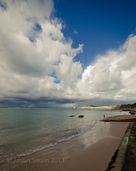 Autumn arrives at Colwell Bay - IMG_2506 (s0ulsurfing) Tags: ocean autumn sea england sky cloud reflection english beach nature water weather clouds composition skyscape island bay coast seaside sand scenery skies natural britain patterns wide shoreline wideangle september coastal shore isleofwight coastline british 12mm isle cloudporn nube englishchannel wight meteorology nephology 6d colwell colwellbay lamanche westwight sigma1224 2013 beachculture s0ulsurfing