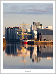 Riverside Reflections (flatfoot471) Tags: bridge urban museum sunrise landscape dawn scotland riverclyde riverside glasgow ships milleniumbridge yorkhill govan glenlee