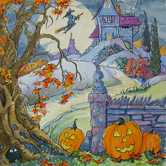 Home for the Holiday...Halloween that Is SBC (cottagelover1953) Tags: autumn moon house fall halloween vintage pumpkin witch jackolantern cottage haunted fairy storybook tale broom