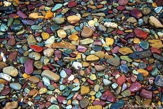 mosaic of colored cobbles