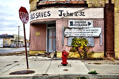 Investments (TooLoose-LeTrek) Tags: urban church sign corner hydrant decay jesus detroit stop blight saves rx100