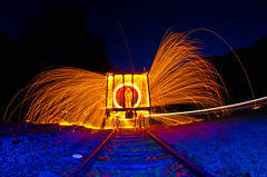 Flat Top (Bradley Nash Burgess) Tags: longexposure railroad light lightpainting night train painting nikon tracks fisheye sparks 8mm lightart steelwool lightpaint rokinon d7000 nikond7000 rokinon8mm rokinon8mmfisheye