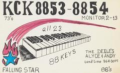 88 Keys & Falling Star - Battle Creek, Michigan (The Cardboard America Archives) Tags: vintage michigan postcard piano qsl cb battlecreek 88keys fallingstar cbradio citizensband qslcard