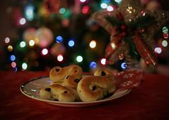 Santa Lucia Buns (KurtClark) Tags: christmas food holiday color tree lights december sweden canon20d swedish raisins depthoffield buns rolls tradition festivaloflights saffron santalucia safron 50mmf18 saintlucy december13 13dec2013