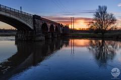 Rail Bridge (Daniel KG) Tags: nottingham bridge silhouette sunrise river landscape railway wideangle powerlines trent handheld nottinghamshire netherfield colwick