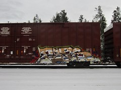 PZES (YardJock) Tags: graffiti spraypaint boxcar piece burner freighttrain rollingstock benching paintedsteel