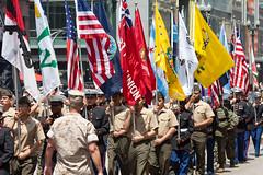 American Flags (Thomas Hawk) Tags: usa chicago illinois unitedstates flag military unitedstatesofamerica americanflag parade memorialday cookcounty chicagoland windycity memorialdayparade chicagomemorialdayparade