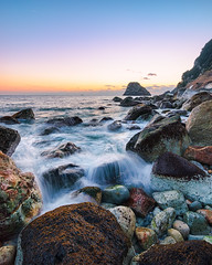 Dusk at Cape Hagachizaki (-TommyTsutsui- [nextBlessing]) Tags: blue winter light sunset sea sky orange cliff seascape seaweed beach nature rock japan clouds landscape nikon waves purple dusk tide scenic  cape   geo     izu 410 laver  minamiizu sigma1020   onsalegettyimages ihama    hagachi