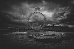 The Eye (Future-Echoes) Tags: 4star 2013 boats cloud dark ferriswheel london londoneye river urban water