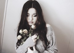 Self-Portrait. Norway 2016 (amanecer334) Tags: girl woman roses flowers indoor long hair brunette dry old alone emotions sad lonely one person portrait selfportrait fineart delicate sensitive polish norway toned dreamy sentimental