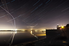 Busy Sky (Rob Pitt) Tags: startrails startrailsexe tokina 1116 liverpool mersey reflection light water river merseyside wirral long exposure night photography stars star cheshire sky abstract plane trails easthamferry uk england rob pitt