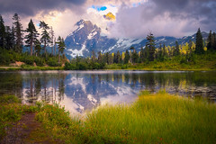 Mt Shuksan, North Cascade National Park (Meleah Reardon) Tags: north cascades national park washington western northwest pacific mount baker mountain sunset lake reflection landscape grass water green blue clouds serene quiet scenic hiking seattle