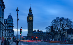 Elizabeth Tower - Moring Light Show (Aleem Yousaf) Tags: elizabeth tower big ben palace westminster london clock british cultural icon monument historical tourism landmark morning blue hour light trails traffic nikon d800 wideangle long exposure lee filter neutral density