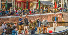 canal party (albyn.davis) Tags: amsterdam netherlands canal boat people party cafes bystanders drinking colors colorful vibrant festive